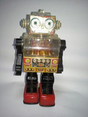 Juguete Antiguo Piston Robot Sjm Hojalata Funciona