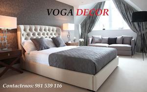 King queen size camas cabeceras tapizadas modernas posot for Juego de dormitorio queen