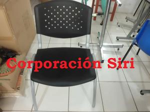 SILLA DE OFICINA FIJA DE PVC MODELO NED Y TAPIZADO SHER.