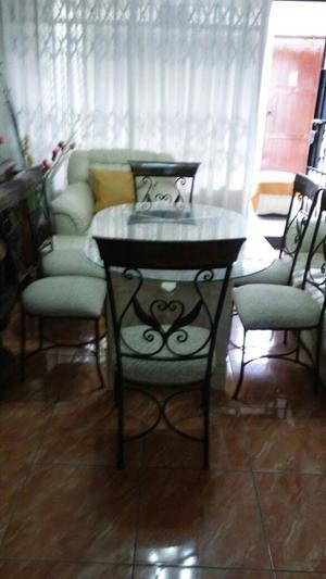 Juego de comedor 6 sillas base de mesa de marmol