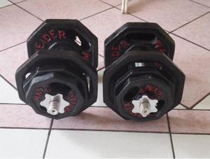 nuevo mancuernas !! 40Kg de pesas con manubrios cromadas con