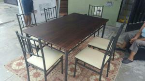 Juego de comedor 6 sillas de cuero acero y posot class for Juego de 6 sillas para comedor