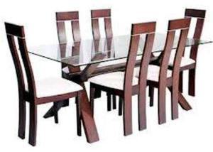 Juego de comedor mesa de vidrio 6 personas posot class for Comedor vidrio 6 sillas