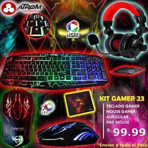Kit Gamer Teclado Mouse Auricular Pad