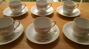 Tazas De Cafe Express En Porcelana Fina Filo Dorado