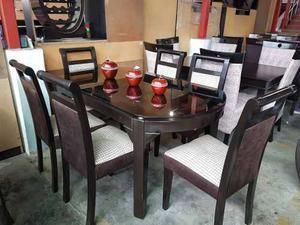 Comedor en madera tornillo en acabado parafinico posot class for Juego de comedor 6 sillas