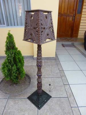 Antigua Lampara, Pedestal De Cedro Tallado