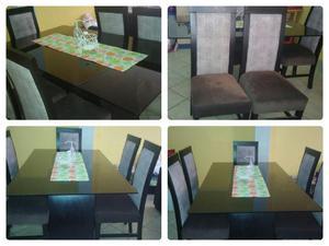 Comedor moderno vidrio templado 6 sillas 600 soles posot for Lo ultimo en sillas de comedor
