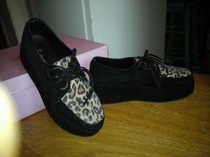 Zapatos De Cuero Creeper De Mujer