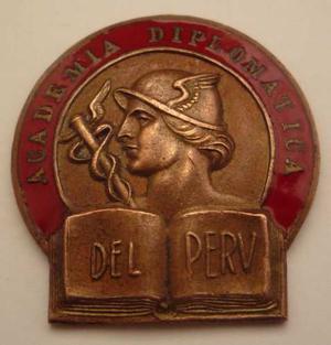Medalla Academia Diplomatica Del Peru Emblema Cobre Esmaltad
