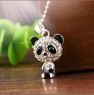 Oso Panda Collar Brillantes