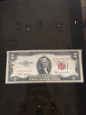 Billete de 2 Dolares con Sello Rojo