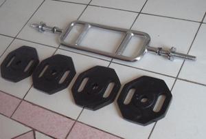 set de 20kg de pesas con barra romana sin mancuernas con