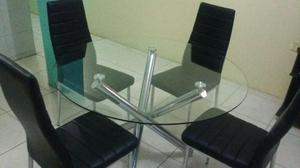 Comedor redondo de madera con vidrio posot class for Juego de comedor redondo de vidrio