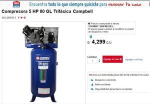 Remato Compresora Campbell 5hp C/nueva