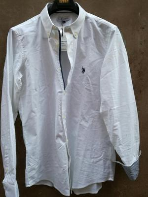 Camisa Blanca Polo Custom Fit Xl