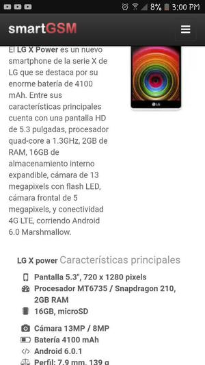 Lg X Power Estado 9 de 10 a 450 Soles