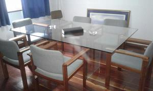 Mesa comedor vidrio templado ziyaz 6 sillas posot class - Mesas cristal templado ...