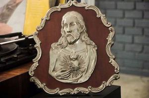 Retratos, Antigüedades, Rostro De Cristo,en Acero Con Plata