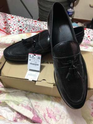 Zapatos Mocasines De Cuero Zara Man Talla 44 Europeas