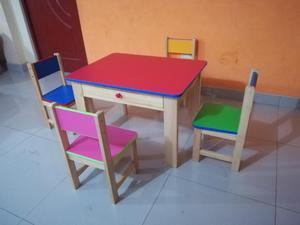 mesa de ninos nido o inicial con 4 sillas color posot class