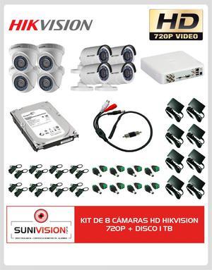 KIT DE 8 CÁMARAS HD HIK VISION 720P DISCO 1 TB TURBO HDTVI
