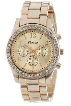 Reloj Geneva Mujer De Metal Con Brillantes