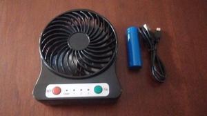 Mini Ventilador Con Batería Recargable 3 Velocidades Led