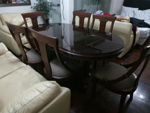 Juego comedor 1 base y 6 sillas madera cedro posot class for Comedor 6 sillas usado
