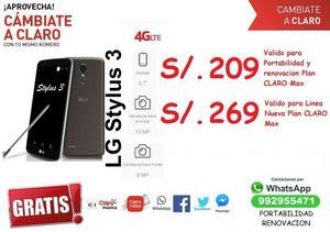 LG Stylus 3, desde S/.269 en plan postpago Claro MAX 149