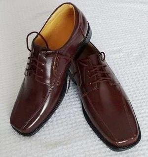 Zapatos De Vestir Para Caballero, Cuero Marrón (con Brillo)