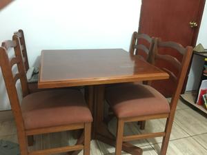 Remate por viaje Jgo comedor caoba y cedro 4 sillas a S/750
