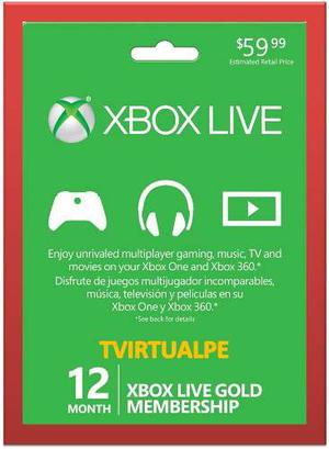 Xbox Live Gold 12 Meses Xbox One/ 360 Región Libre- Scheda