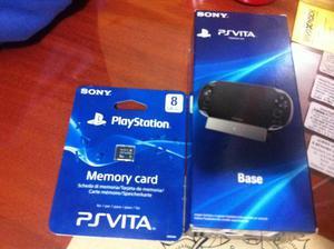 PS VITA MEMORY CARD 8GB Y BASE CARGADOR PS VITA FAT TODO x