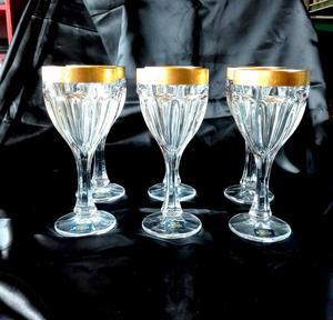 Set juego 18 copas filo dorado cristaleria ferrand posot for Copas bohemia