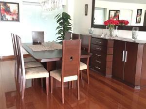 Comedor con aparador espejo y 8 sillas de cedro posot class for Vendo sillas comedor