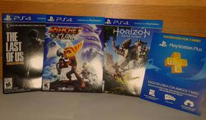Ps4 Play Station 4 Pack 3 Juegos Y Membresia Plus 3 Meses