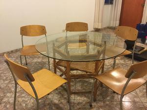 Comedor redondo de madera con vidrio posot class for Comedor redondo 5 sillas