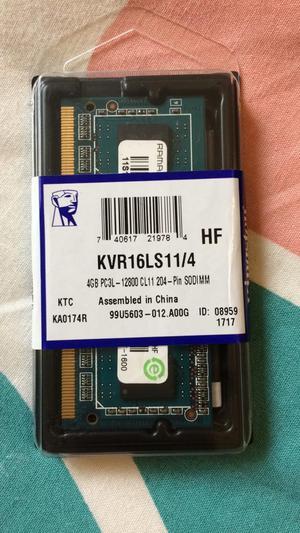 Memoria Kingston Sodimm Ddr3 4G  Kvr16Ls11/4. Nuevo!