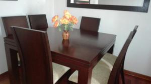 Juego de comedor en madera con tapiz amarillo remato for Comedor 6 sillas usado