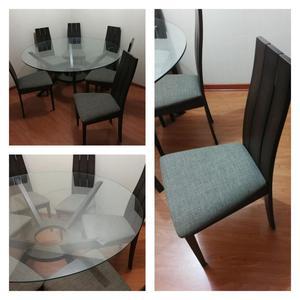 Comedor de sala circular en chenill verde 6 sillas posot for Juego de 6 sillas para comedor