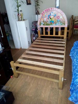Ocasion cama de madera plaza y media posot class for Cama de plaza y media