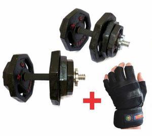 set de 40kg de pesas GYM con mancuernas cromadas y guantes