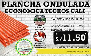Coberturas Onduladas Opaco Rojo 3mts