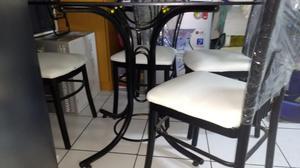 Sillas de fierro c espaldar y asientos en posot class for Comedor vidrio 4 sillas