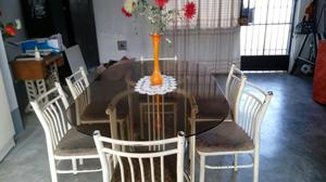 Moderna mesa de comedor para 6 sillas vidrio posot class for Vendo sillas comedor