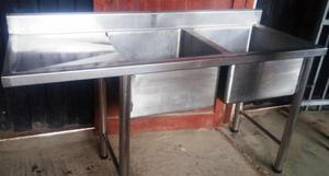 Lavadero de dos pozas con escurridor de acero inox posot for Lavadero acero inox