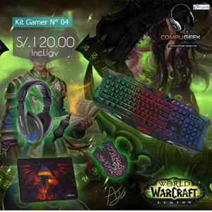Kit Gamer N°04 Teclado/mouse/audifono/ Regalo Pad Mouse
