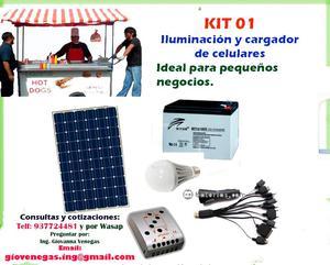 kit solar cargador de celulares iluminacion