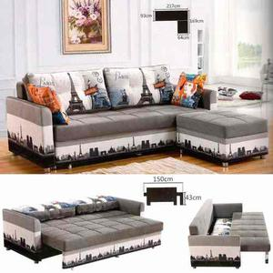 Sofa Cama Modelo  Cuerpos / 2 Plazas + Puff